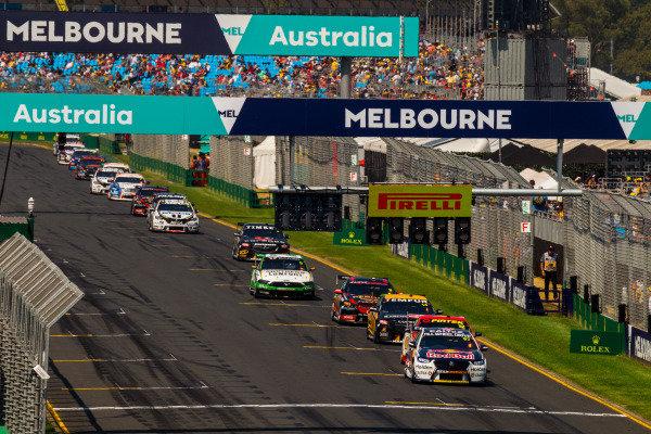 Shane van Gisbergen, Triple Eight Racing Engineering, Holden, leads Fabian Coulthard, DJR Team Penske, Ford and David Reynolds, Erebus Motorsport, Holden