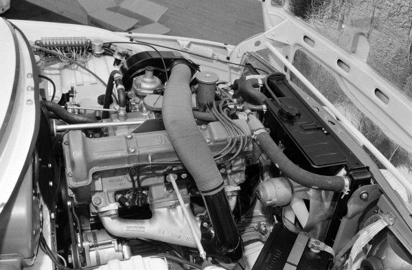 A Saab 99 engine exhaust side.