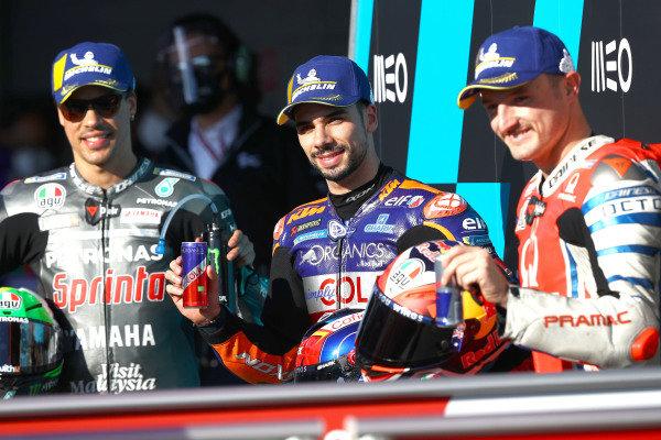 Polesitter Miguel Oliveira, Red Bull KTM Tech 3, Franco Morbidelli, Petronas Yamaha SRT, third place Jack Miller, Pramac Racing.