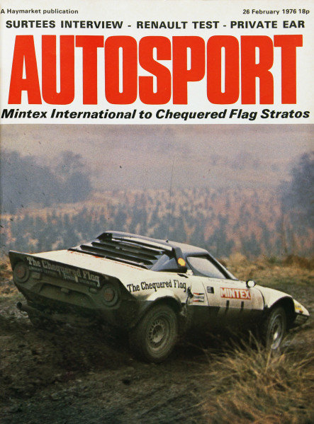 Cover of Autosport magazine, 26th February 1976