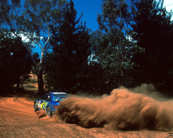 Richard Burns in action in the Subaru Impreza WRC2000, Rally Australia 2000.Photo:McKlein/LAT.