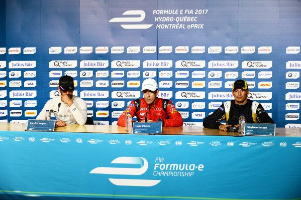 2016/2017 FIA Formula E Championship. Round 11 - Montreal ePrix, Canada Saturday 29 July 2017. Jean-Eric Vergne (FRA), Techeetah, Spark-Renault, Renault Z.E 16, Lucas Di Grassi (BRA), ABT Schaeffler Audi Sport, Spark-Abt Sportsline, ABT Schaeffler FE02, and Stephane Sarrazin (FRA), Techeetah, Spark-Renault, Renault Z.E 16, in the press conference. Photo: Patrik Lundin/LAT/Formula E ref: Digital Image PL2_0679