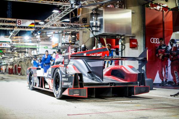 2016 Le Mans 24 Hours. Circuit de la Sarthe, Le Mans, France. Audi Sport Team Joest / Audi R18 - Lucas Di Grassi (BRA), Loic Duval (FRA), Oliver Jarvis (GBR).  Sunday 19 June 2016 Photo: Adam Warner / LAT ref: Digital Image _L5R6289