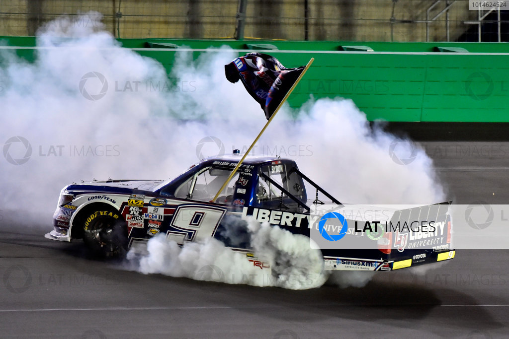 6-7 July, 2016, Sparta, Kentucky USA William Byron celebrates his win with a burnout  ?2016, Nigel Kinrade LAT Photo USA