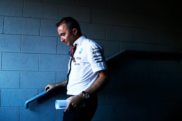 Autodromo Nazionale di Monza, Monza, Italy. Sunday 6 September 2015. Paddy Lowe, Executive Director (Technical), Mercedes AMG, leaves an FIA stewards enquiry concerning Mercedes' tyre pressures. World Copyright: Jed Leicester/LAT Photographic ref: Digital Image _L2_9545