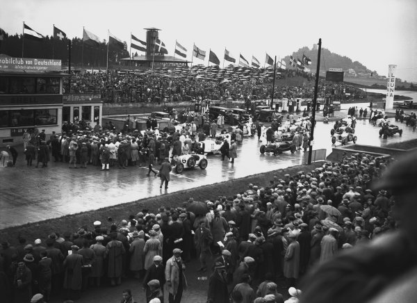 Nurburgring, Germany. 19th July 1931. The Group 1 cars on the grid before the start on the race. World Copyright: LAT Photographic. Ref:  Autocar Glass Plate B6828