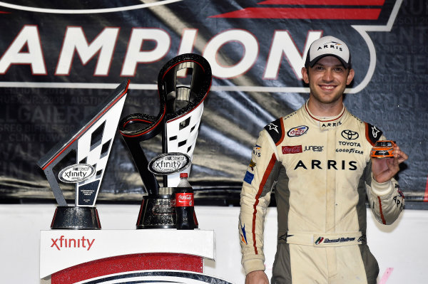 18-19 November, 2016, Homestead, Florida USA Daniel Suarez, Arris Toyota Camry celebrates his Championship win in Victory Lane © 2016, Nigel Kinrade LAT Photo USA