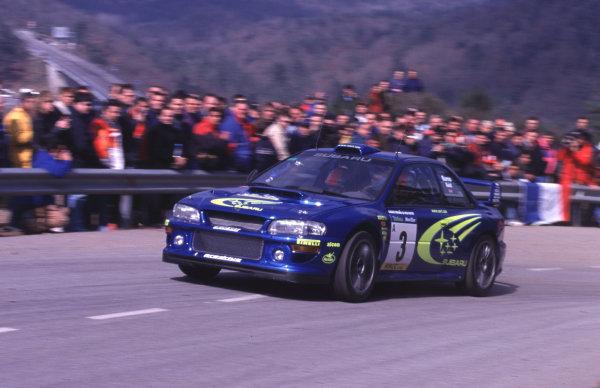 FIA World Rally ChampsCatalunya Rally, Spain. 30/3-2/4/2000Richard Burns, Subaru Impreza WRC, 2nd place.photo: World - McKleintel: (+44) 0208 251 3000e-mail: digital@latphoto.co uk35mm Original Image.
