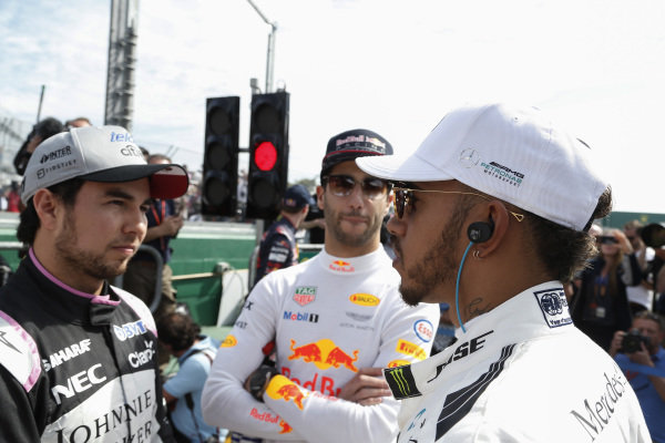 Sergio Perez (MEX) Force India, Daniel Ricciardo (AUS) Red Bull Racing and Lewis Hamilton (GBR) Mercedes AMG F1 at Formula One World Championship, Rd1, Australian Grand Prix, Race, Albert Park, Melbourne, Australia, Sunday 26 March 2017.