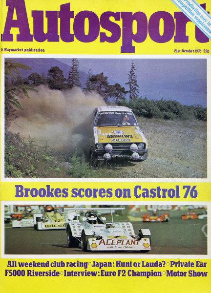 Cover of Autosport magazine, 21st October 1976