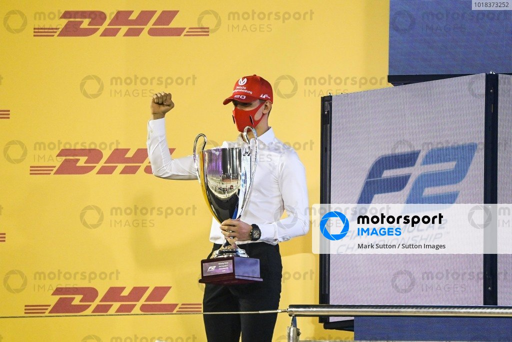F2 Championship 1st postion Mick Schumacher (DEU, PREMA RACING) celebrates on the podium with the trophy