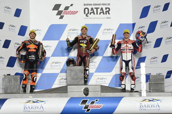 Sam Lowes, Marc VDS Racing Team, Remy Gardner, Red Bull KTM Ajo, Fabio di Giannantonio, Federal Oil Gresini Moto2 on the podium.