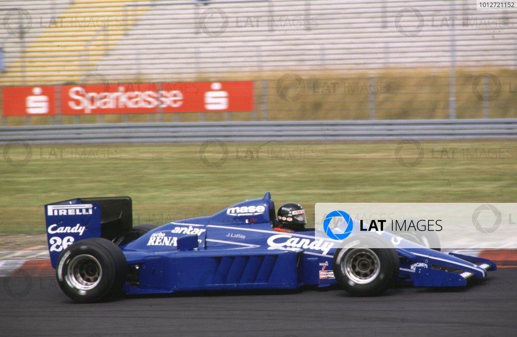 1985 German Grand Prix.Nurburgring, Germany.2-4 August 1985.Jacques Laffite (Ligier JS25 Renault) 3rd positionWorld Copyright - LAT Photographic
