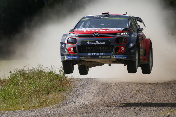 Mads Ostberg in full flight during Rally Finland