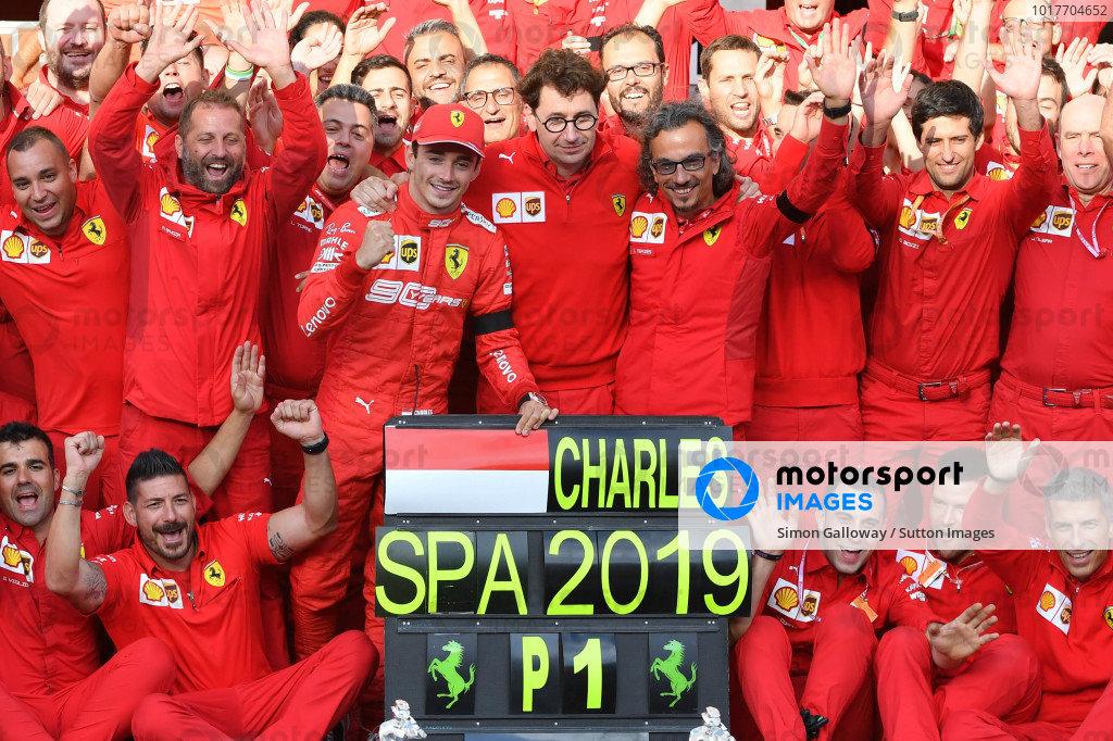 Charles Leclerc, Ferrari, Mattia Binotto, Team Principal Ferrari, Laurent Mekies, Sporting Director, Ferrari, and the Ferrari team celebrate victory