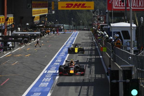 Alexander Albon, Red Bull RB15, exits the pit lane