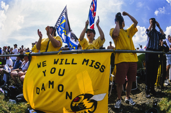 Fans with a message for Damon Hill, following the announcement of his retirement.