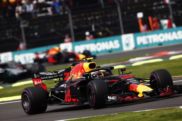 Max Verstappen, Red Bull Racing RB14, leads Lewis Hamilton, Mercedes AMG F1 W09 EQ Power+, and Daniel Ricciardo, Red Bull Racing RB14
