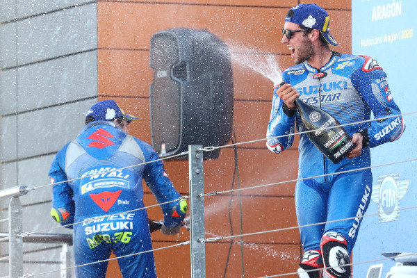 Race winner Alex Rins, Team Suzuki MotoGP, third place Joan Mir, Team Suzuki MotoGP.