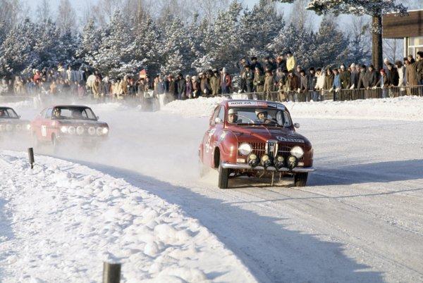 1968 European Rally Championship Swedish Rally, Sweden. 4-7 January 1968 Hakan Lindberg/Bo Reinicke (SAAB V4), 3rd position World Copyright: LAT PhotographicRef: 35mm transparency 68RALLY04
