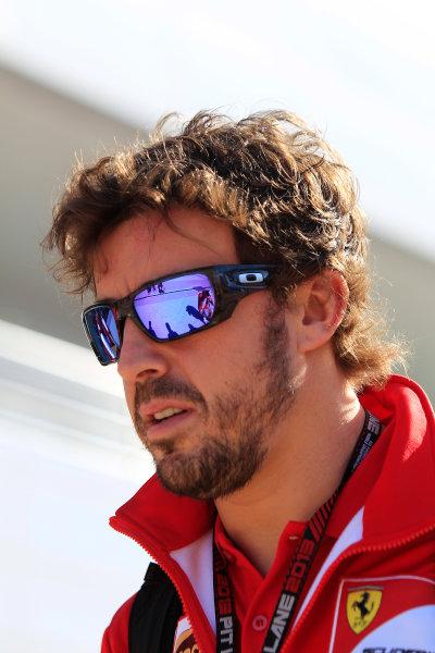 Korea International Circuit, Yeongam-Gun, South Korea. Saturday 5th October 2013. Fernando Alonso, Ferrari. World Copyright: Charles Coates/LAT Photographic. ref: Digital Image _X5J9450