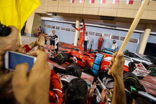 Bahrain International Circuit, Sakhir, Bahrain.  Sunday 16 April 2017. Sebastian Vettel, Ferrari, 1st Position, celebrates on arrival in Parc Ferme. World Copyright: Charles Coates/LAT Images ref: Digital Image AN7T4034