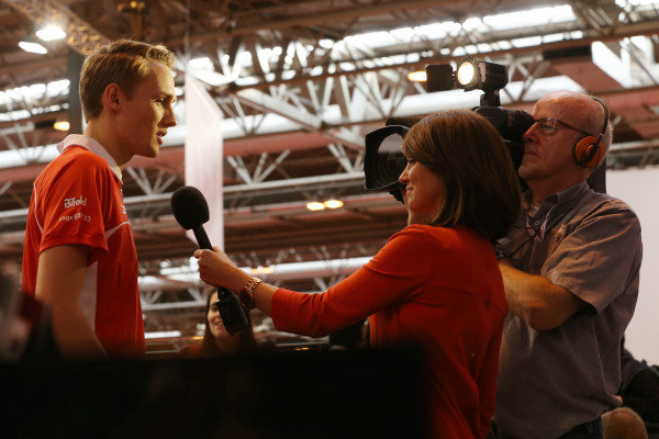 Max Chilton (GBR) Marussia F1 Team is interviewed. Autosport International Show, NEC, Birmingham, England, Day Three, 11 January 2014.