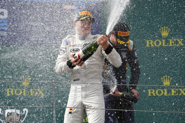 Race winner Stoffel Vandoorne (BEL) ART Grand Prix celebrates on the podium with champagne at GP2 Series, Rd4, Spielberg, Austria, 19-21 June 2015.