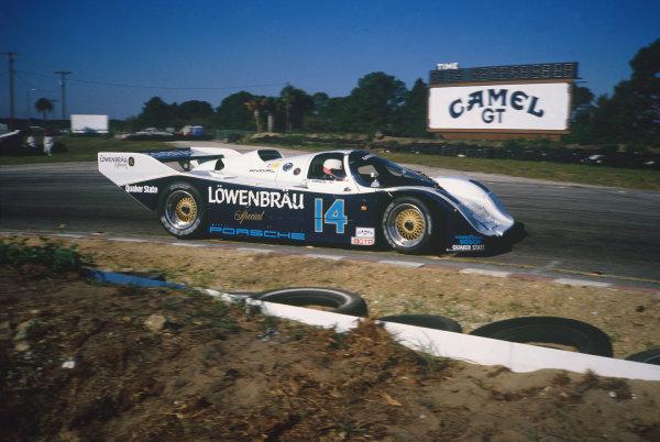 Sebring 12 Hours, Florida, USA. 21st March 1987. Rd 3.Al Holbert/Chip Robinson (Porsche 962), 2nd position, action. World Copyright: LAT Photographic.Ref:  87IMSA SEB01.