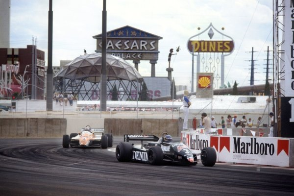 1982 Las Vegas Grand Prix.Caesars Palace, United States. 25 September 1982.Michele Alboreto, Tyrrell 011-Ford, 1st position, leads Mauro Baldi, Arrows A4-Ford, 11th position, action.World Copyright: LAT PhotographicRef: 35mm transparency 82LV
