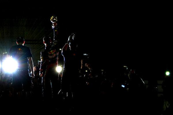 Suzuka Circuit, Suzuka, Japan.9th October 2011.Sebastian Vettel, Red Bull Racing RB7 Renault, 3rd position, celebrates his second world championship with his team. Portrait. Atmosphere. World Copyright: Andy Hone/LAT Photographicref: Digital Image CSP26061
