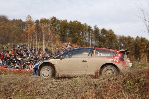 Sebastien Loeb (FRA), Citroen C4 WRC, on stage 4.World Rally Championship, Rd14, Rally Japan, Sapporo, Japan, Day One, Friday 31 October 2008.