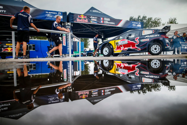 The M-Sport Ford service area within the Villa Carlos Paz WRC service park