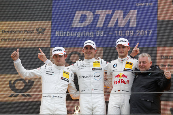 2017 DTM Round 7  Nürburgring, Germany  Sunday 10 September 2017. Podium: Race winner Robert Wickens, Mercedes-AMG Team HWA, Mercedes-AMG C63 DTM, second place Paul Di Resta, Mercedes-AMG Team HWA, Mercedes-AMG C63 DTM, third place Marco Wittmann, BMW Team RMG, BMW M4 DTM  World Copyright: Alexander Trienitz/LAT Images ref: Digital Image 2017-DTM-Nrbg-AT1-2705