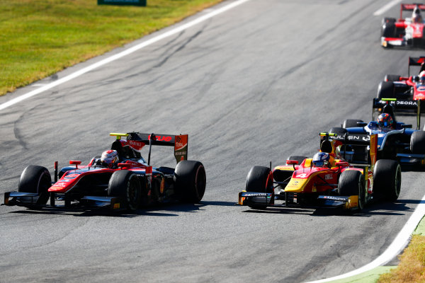 Autodromo Nazionale di Monza, Italy. Sunday 3 September 2017 Alexander Albon (THA, ART Grand Prix). leads Gustav Malja (SWE, Racing Engineering).  Photo: Bloxham/FIA Formula 2 ref: Digital Image _W6I4720