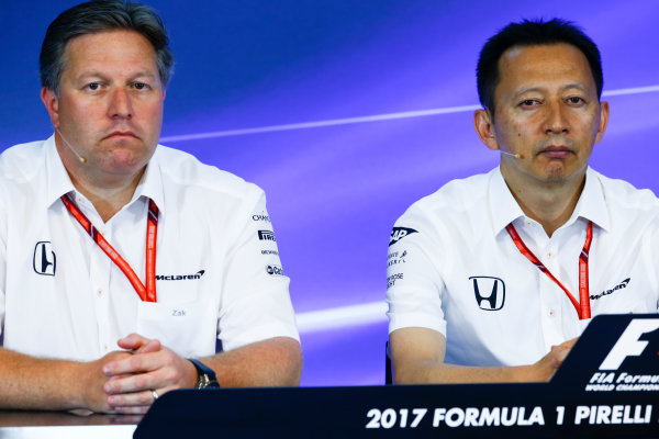 Spa Francorchamps, Belgium.  Friday 25 August 2017. Zak Brown, Executive Director, McLaren Technology Group, and Yusuke Hasegawa, Senior Managing Officer, Honda, in the Team Principals Press Conference. World Copyright: Andy Hone/LAT Images  ref: Digital Image _ONZ9480