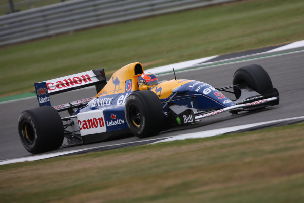 Silverstone, Northamptonshire, UK.  Saturday 15 July 2017. Karun Chandhok drives the Championship winning Williams FW14B Renault, raced in 1992 by Nigel Mansell, as part of the Williams 40th Anniversary celebrations. World Copyright: Dom Romney/LAT Images  ref: Digital Image 11DXA6905