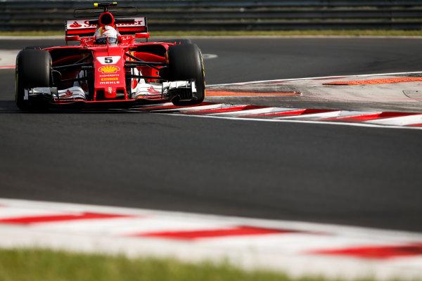 Hungaroring, Budapest, Hungary.  Wednesday 02 August 2017. Sebastian Vettel, Ferrari SF70H. World Copyright: Joe Portlock/LAT Images  ref: Digital Image _L5R2078