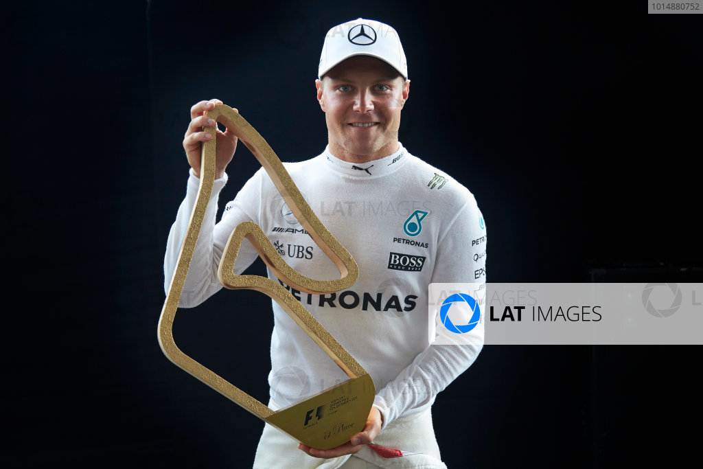 Red Bull Ring, Spielberg, Austria. Sunday 9 July 2017. Valtteri Bottas, Mercedes AMG, 1st Position, with his trophy. World Copyright: Steve Etherington/LAT Images ref: Digital Image SNE19025