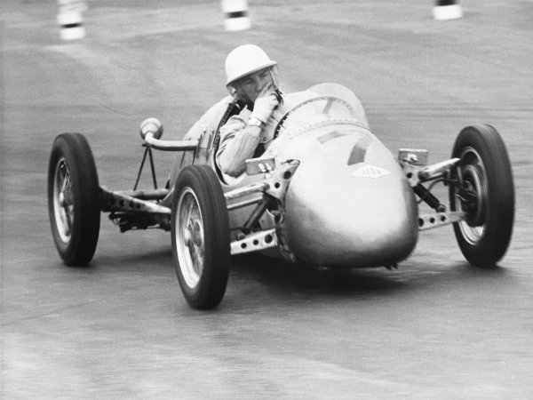 Silverstone, England. 14th July 1951.Stirling Moss (Kieft-Norton 500), 1st position, action.World Copyright: LAT Photographic.
