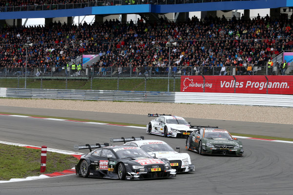 2014 DTM Championship Round 7 - Nurburgring, Germany 15th - 17th August 2014 Timo Scheider (GER) Audi Sport Team Phoenix Audi RS 5 DTM and Nico M?ller (SUI) Audi Sport Team Rosberg Audi RS 5 DTM World Copyright: XPB Images / LAT Photographic  ref: Digital Image 3257296_HiRes