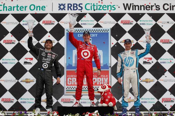 1-3 June, 2012, Detroit, Michigan, USADario Franchitti, Scott Dixon, and Simon Pagenaud in Victory Lane(c)2012, Michael L. LevittLAT Photo USA