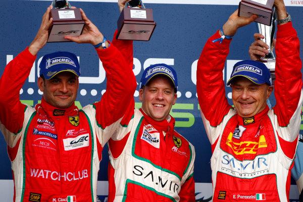 Silverstone, England. 24th - 26th August 2012. Rd 4.Piergiuseppe Perazzini (ITA)/Marco Cioci (ITA)/Matt Griffin (IRL) AF Corse Waltrip Ferrari F458.World Copyright: Ebrey/LAT Photographic.