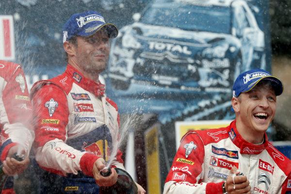 Round 09-Rallye Deutschland 23-26/8-2012.Mikko Hirvonen, Sebastien Loeb,Citroen WRC, Podium.Worldwide Copyright: McKlein/LAT