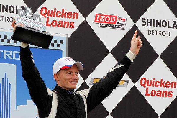1 June, 2013, Detroit, Michigan, USA Winner Mike Conway on the podium.  ©2013, Todd Davis LAT Photo USA