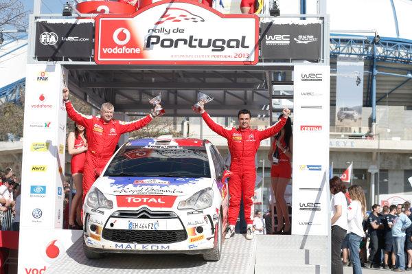 2013 World Rally Championship Rally Portugal 11th - 14th April 2013 Bryan Bouffier, Xavier Panseri, Citroen, podium Worldwide Copyright: McKlein/LAT