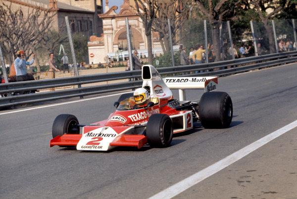 1975 Spanish Grand Prix.Montjuich Park, Barcelona, Spain. 27 April 1975.Jochen Mass (McLaren M23-Ford), 1st position.World Copyright: LAT Photographicref: 35mm Transparency Image