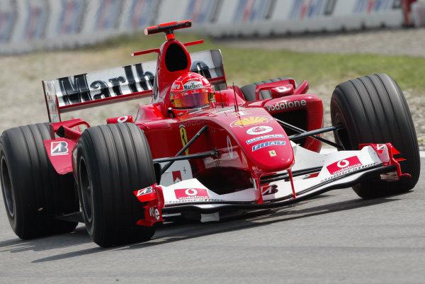 2004 German Grand Prix - Friday Practice,Hockenheim, Germany. 23rd July 2004 Michael Schumacher, Ferrari F2004. Action. World Copyright: Steve Etherington/LAT Photographic ref: Digital Image Only
