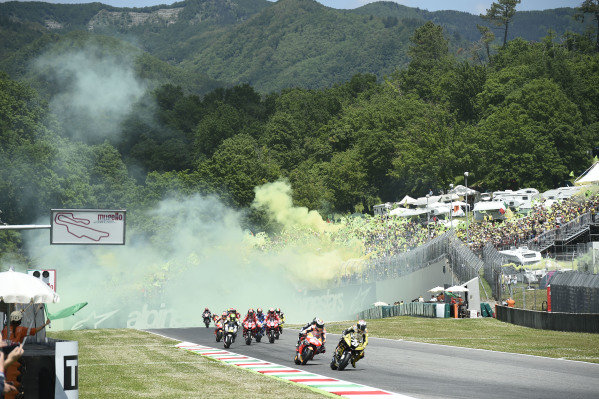 Jack Miller, Pramac Racing, warm up lap, flares.