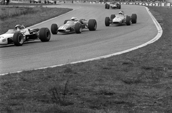 Robin Widdows, McLaren M4A Cosworth, leads Jo Schlesser, McLaren M4A Cosworth, and Derek Bell, Brabham BT23C Cosworth.